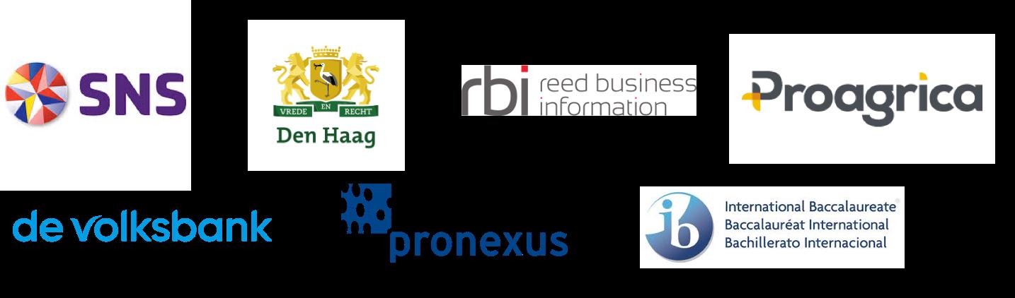 Logo's sns bank, gemeente den haag Reed Business, Proagrica, de Volksbank, Pronexus en IBO