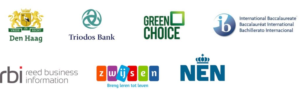 Logo's den haag, triodos bank, greenchoice, IBO, Reed Business, Zwijssen en Nen